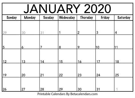 blank january calendar printable beta calendars