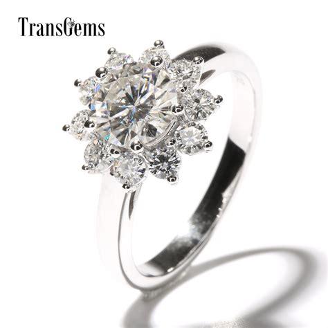 transgems 2 ctw carat lab grown moissanite diamond flower shaped wedding engagement ring halo