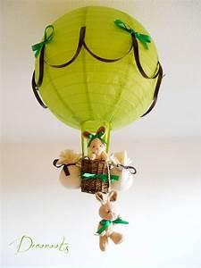 Lustre Bébé Fille : lampe montgolfi re for t lapin vert anis et marron chocolat enfant b b luminaire enfant b b ~ Teatrodelosmanantiales.com Idées de Décoration