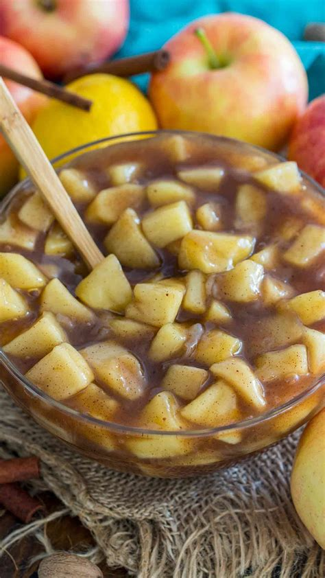 Add apples, sugar, and flour to a large mixing bowl, combine. Best Homemade Apple Pie Filling Video - Sweet and Savory ...