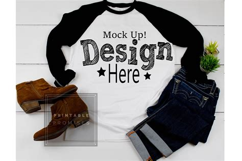 Then check out this mockup. Next Level 6051 Black Raglan Mockup Baseball T-Shirt Mock Up