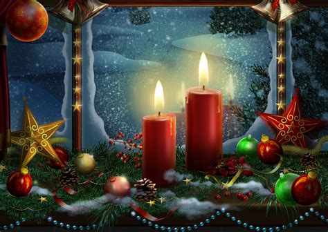 wallpaper christmas decoration candle lights