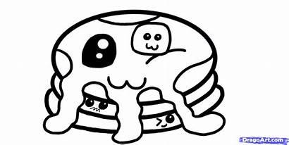 Kawaii Coloring Draw Pages Pancakes Step Sheets