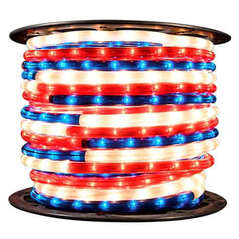 red white and blue rope light 150 ft spool