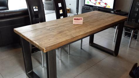 tables de cuisine alinea table de salle à manger acier et bois vieilli meubles et