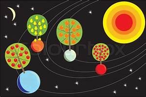 Comic futuristischen Raum Obstgarten auf den Planeten des ...