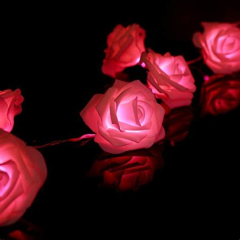 2018 Beautiful Design 20 Led Battery Operated Rose Flower
