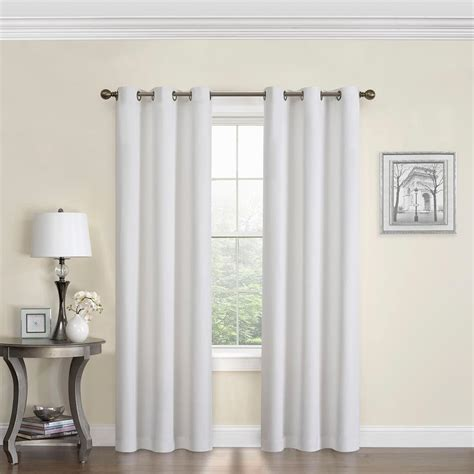 eclipse blackout microfiber 63 in l white grommet curtain