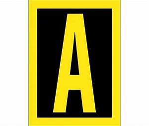 letter a 15 high visibility yellow black ps vinyl With reflective adhesive letters