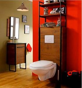 Cuvette Wc Bois : d coration toilette peinture rouge et cuvette wc suspendu ~ Premium-room.com Idées de Décoration