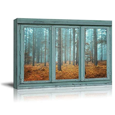 Wood walls create depth, texture, warmth, and most definitely an accent to any space. Framed Vintage Teal Window Wood Forest Canvas Prints Picture Wall Art Home Decor   eBay