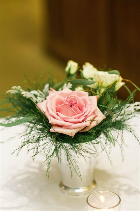 rose  fern cocktail table centerpieces