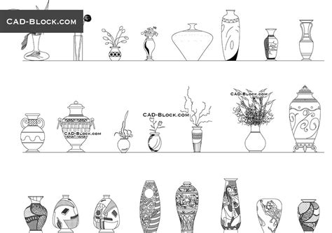 cuisine dwg vases cad blocks free