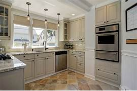 Delectable White Kitchen Cabinets Slate Floor Gallery Traditional Kitchen With Daltile S772 12121P Slate Autumn Mist Natural
