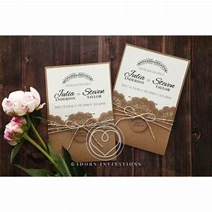 Country style invitation with lace and twine pocket card for Wedding invitations pocket style uk