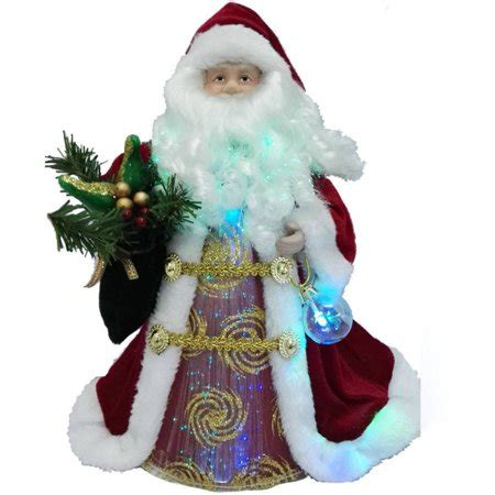 santa tree topper lighted time ornaments 12 quot gold santa tree topper with led light walmart