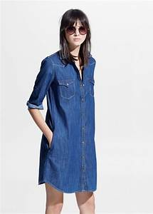 Robe denim fibre naturelle douce femme mango for Robe jean mango