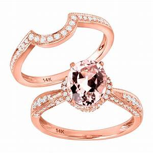 1 3 4 ct natural morganite 3 8 ct diamond engagement for 1 ct wedding ring