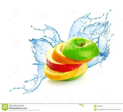 fruit mix in water splash stock photography image 32865022