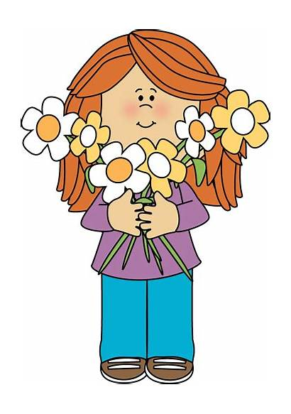Bunch Hair Clip Clipart Flowers Holding