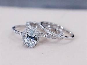 three rings vs 6x8mm blue aquamarine ring w diamond With aquamarine wedding ring
