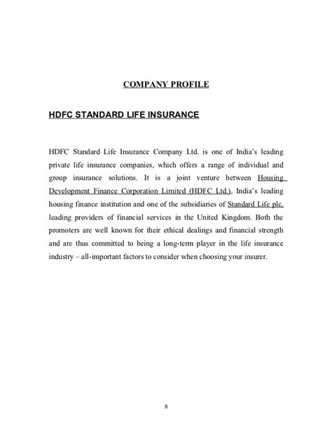 A project report on hdfc standard life insurance