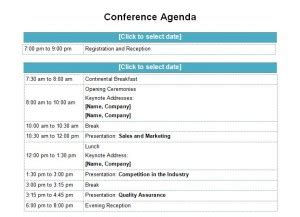 agenda sample template  docx conference planning