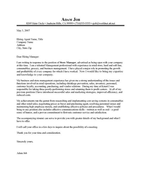 Store Manager Cover Letter Exles Retail Manager Cover Letter Sle Resume Cover Letter