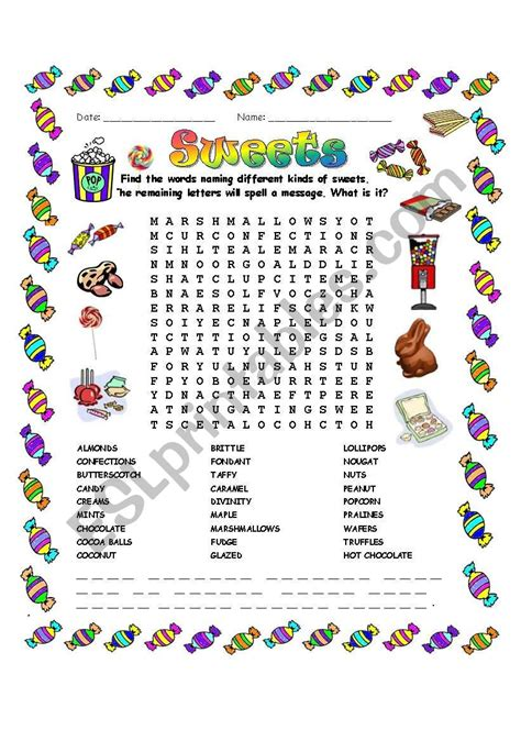 Sweets Word Search  Esl Worksheet By Mchretien