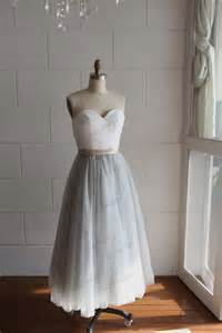 tulle bridesmaid dresses strapless ivory lace silver grey tulle tea length wedding dress bridesmaid dress prom