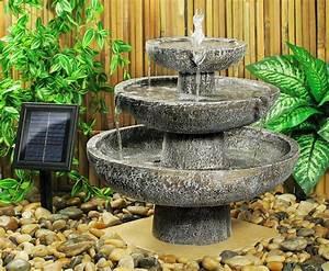 fontaine solaire cascade 3 niveaux grise fontaines With fontaine solaire exterieur jardin