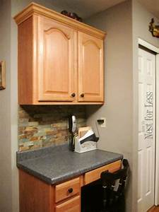 mini makeover crown molding on my kitchen cabinets how With best brand of paint for kitchen cabinets with rock crystal candle holders