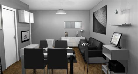 decoration salon blanc gris noir