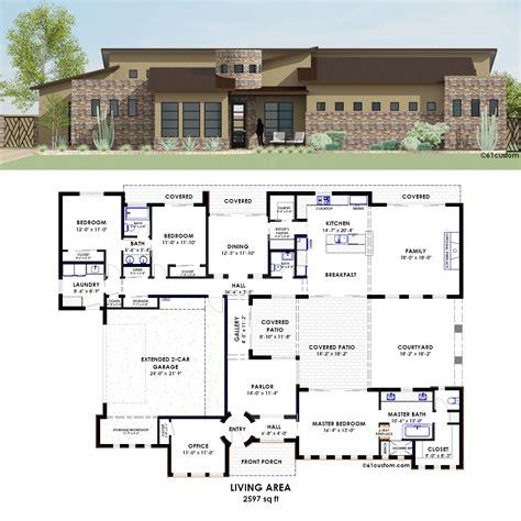 custom modern home plans contemporary side courtyard plan