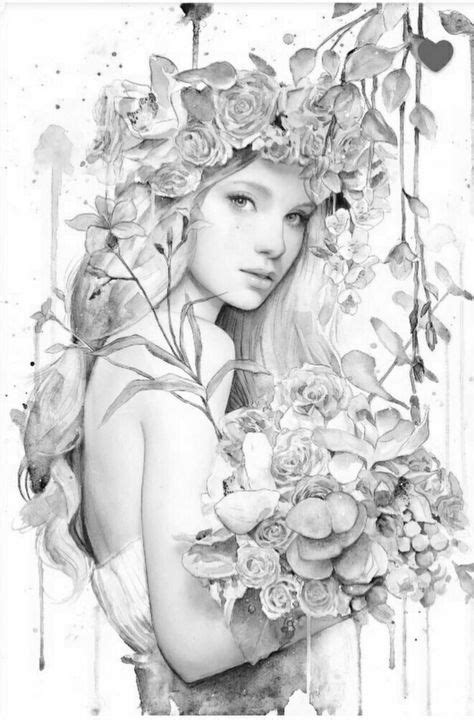 327 Best Flowered women to color images in 2020 | Coloring