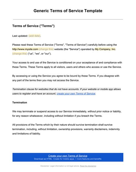 Free Terms And Conditions Template For Services by Terms And Conditions Templates To Write Polices For Your