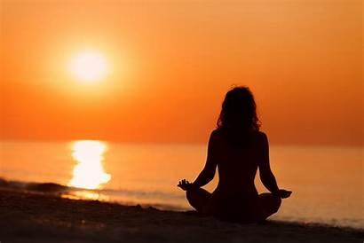 Meditation Sunset Yoga Silhouette Woman Daily Thinking