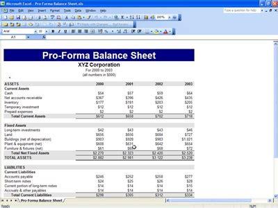 proforma balance sheet  proforma balance sheet template