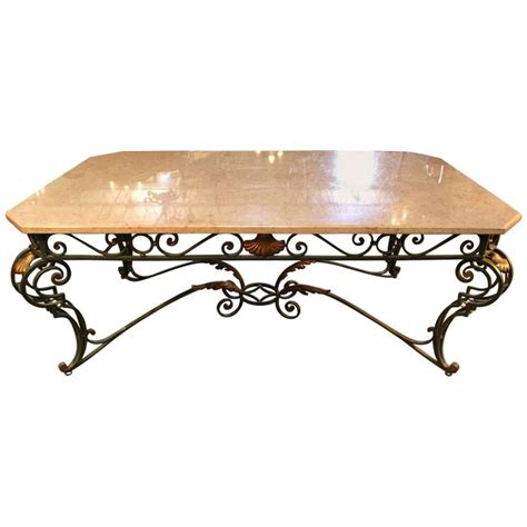 iron dining tables louis xv style iron and marble dining table for 1929