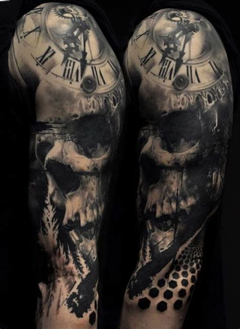 skull  clock tattoo tumblr