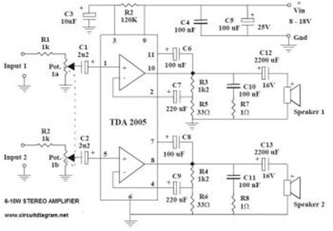 stereo audio amplifier  ic tda circuit