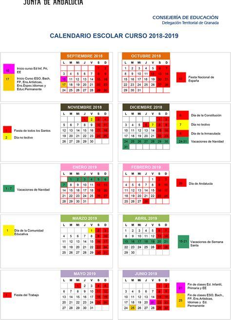 ahora granada el calendario del curso escolar en
