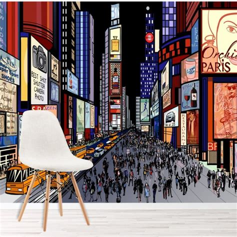 New York Bedroom Wallpaper Ebay by Times Square New York Wall Mural City Illustration