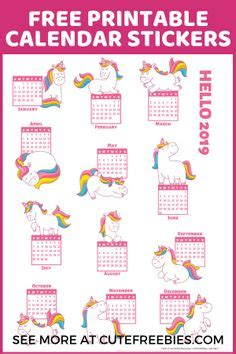 cute unicorn  calendar  printable