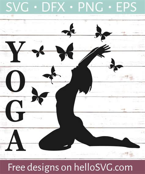 In order to use this file you must credit the author with the a link back to this page. Yoga Pose with Butterflies SVG - Free SVG files   HelloSVG.com