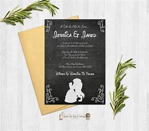beauty and the beast wedding invitation rustic chalkboard With beauty and the beast be our guest wedding invitations