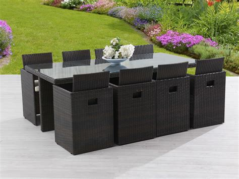 salon de jardin encastrable 8 places table 210x105cm r 233 sine tress 233 e plateau verre 8