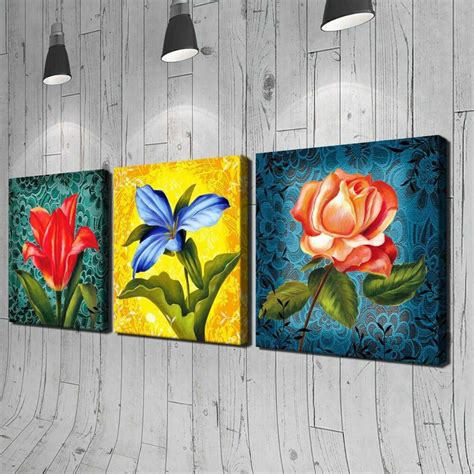 Frameless 3 Pcs Flower Printed Painting oil Painting Wall