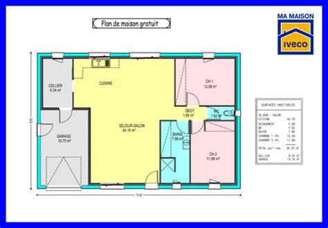 plan plain pied 2 chambres plan maison plain pied 2 chambres 60m2