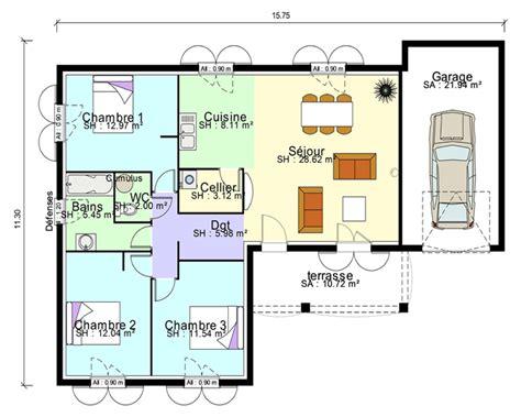 plan maison en l plain pied plan maison contemporaine plain pied en l 3 chambres et garage projet plan